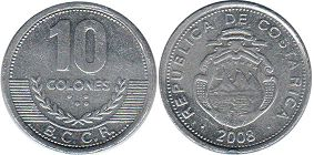 coin Costa Rica 10 colones 2008