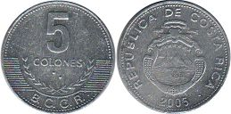 coin Costa Rica 5 colones 2005