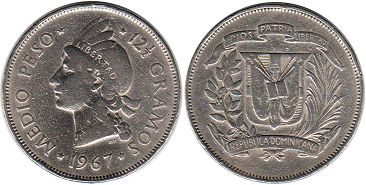 coin Dominican Republic 1/2 peso 1967