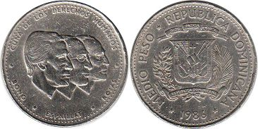 coin Dominican Republic 1/2 peso 1986