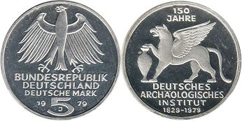 coin Germany BRD 5 mark 1979 Archeological Institute