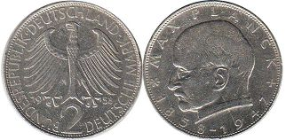 coin Germany BRD 2 mark 1958