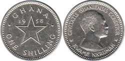 coin Ghana one shilling 1958