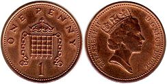 coin Great Britain 1 penny 1986