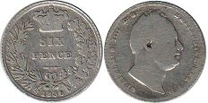 coin Great Britain 6 pense 1836