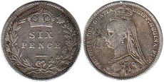 coin Great Britain 6 pence 1889