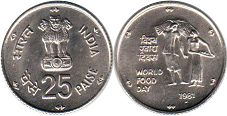 coin India 25 paise 1981 World Food Day