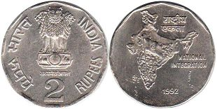 coin India 2 rupees 1992