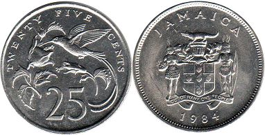 coin Jamaika 25 cents 1984
