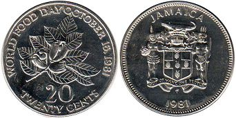 coin Jamaica 20 cents 1981