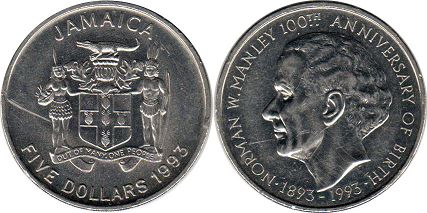 coin Jamaica 5 dollars 1993