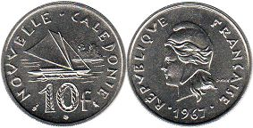 coin New Caledonia 10 francs 1967