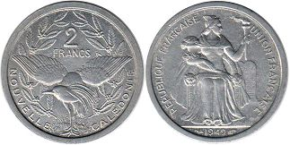 coin New Caledonia 2 francs 1949