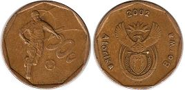 coin South Africa 20 cents 2002 Football