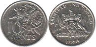coin Trinidad and Tobago 10 cents 1976