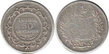 piece Tunisia 50 centimes 1891