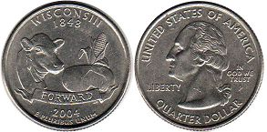 coin US commemorative coin 1/4 dollar 2004 state quarter Wisconsin