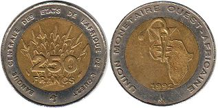 piece West African States 250 francs 1992