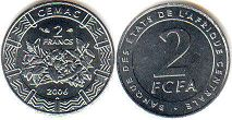 piece Central African States (CFA) 2 francs 2006
