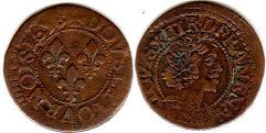 coin France  double denier 1638