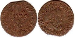 coin France double denier 1609