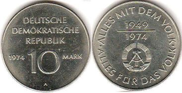 coin East Germany 10 mark 1974
