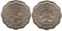coin Ghana 2 1/2 two and half pesewas 1967
