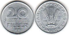 coin Hungary 20 filler 1967