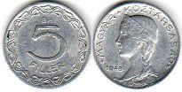 coin Hungary 5 filler 1948