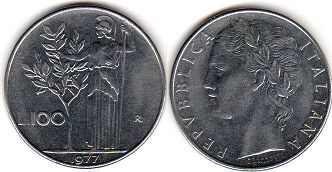coin Italy 100 lire 1977