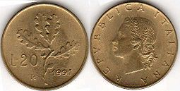 coin Italy 20 lire 1991