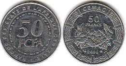 piece Central African States (CFA) 50 francs 2006
