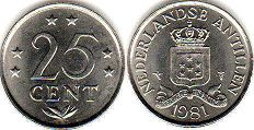 coin Netherlands Antilles 25 cents 1981