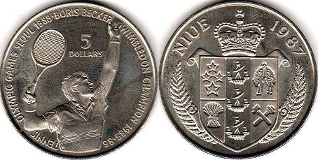 coin Niue 5 dollars 1987