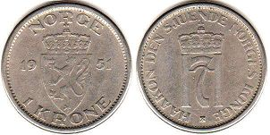coin Norway 1 krone 1951