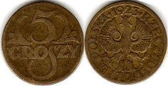 coin Poland 5 groszy 1923