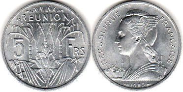 coin Reunion 5 francs 1955