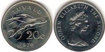 coin Tuvalu 20 cents 1976