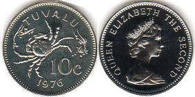 coin Tuvalu 10 cents 1976