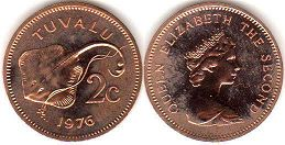 coin Tuvalu 2 cents 1976