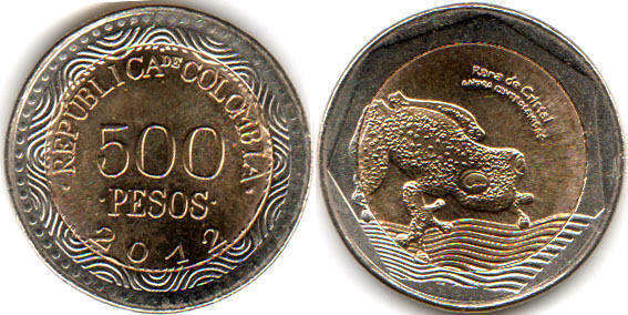2 DIFFERENT 50 PESO COINS from COLOMBIA 2 TYPES BOTH DATING 2012