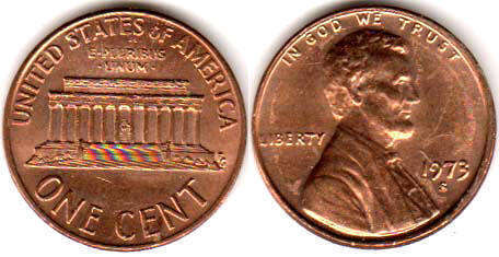 US coin 1 cent 1973 Lincoln memorial cent