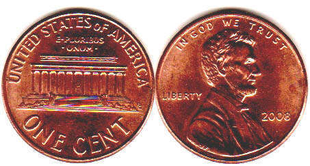 US coin 1 cent 2008 Lincoln memorial cent