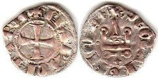 coin Achaea denier ND (1301-1307)