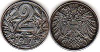 coin Austrian Empire 2 heller 1917