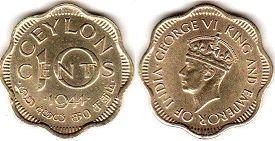 coin Ceylon 10 cents 1944