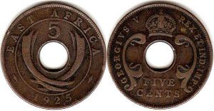 coin BRITISH EAST AFRICA 5 cents 1925
