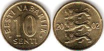 coin Estonia 10 senti 2002