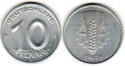 coin East Germany 10 pfennig 1949