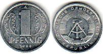 coin East Germany 1 pfennig 1988